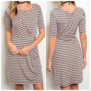 Short sleeve printed fitted waist dress